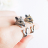 Hamster ring, mice ring, burnished mouse ring, adjustable ring, antique gold hamster ring, antique silver hamster ring