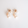 double pearl earrings , pearl post Earrings, pearl studs, bridesmaid gift, work interview earrings