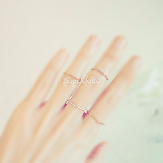 skinny hexagon ring, thumb ring, midi ring, knuckle ring, simple ring band