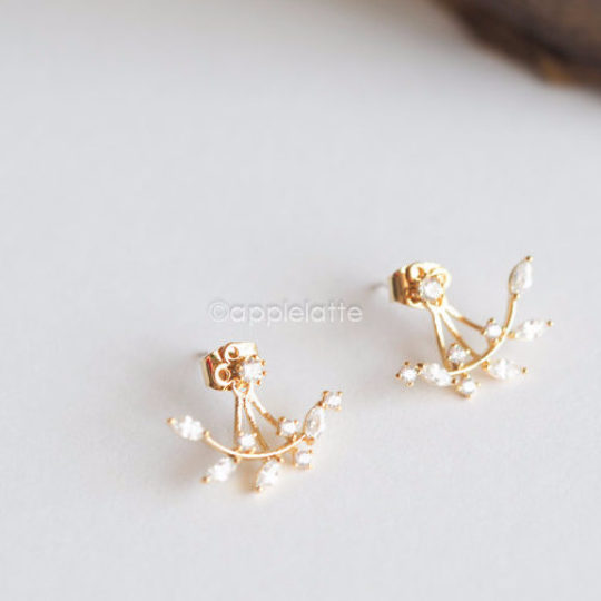 Leaf Ear Jackets, Swarovski Crystal Earrings, Front Back Earrings, Branch Earrings, Delicate Earrings, Wedding, Bridesmaid Gift _E001