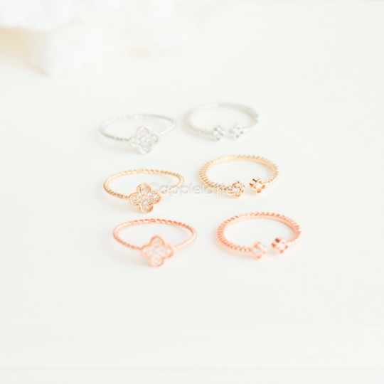 four rings leaf sparkling clover ring images nereid shamrock simple lucky
