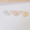 diamond shape ring in gold, silver or rose gold