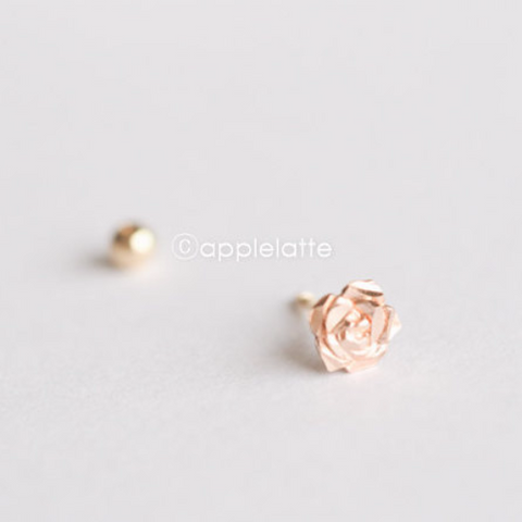 14K Solid Rose Gold Flower Ear Piercing_PG007