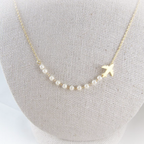 White Pearls Airplane Necklace