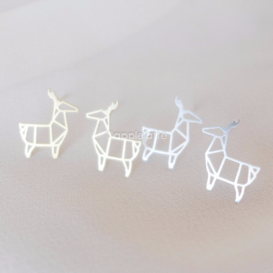 origami deer earrings in gold or silver, fawn post earrings, deer studs