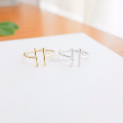 parallel bar ring in Gold or silver, minimal bar ring