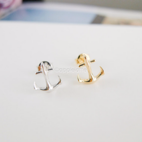 anchor earrings in gold or silver
