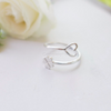 clover heart Ring, clover ring, sideways heart ring, luck & love wrapped ring