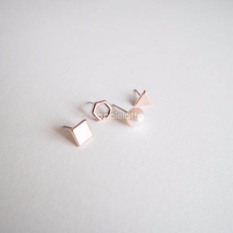 a set of 4 single earrings, Square/Hexagon/Triangle/Pearl Earrings, bridesmaid gift, geometric studs