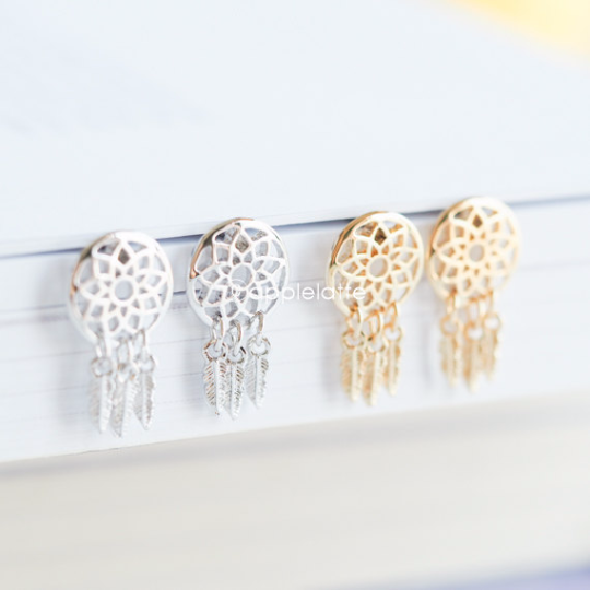 Dream Catcher Earrings in gold or silver, wish earrings, hope studs, dream post earrings, boho jewelry