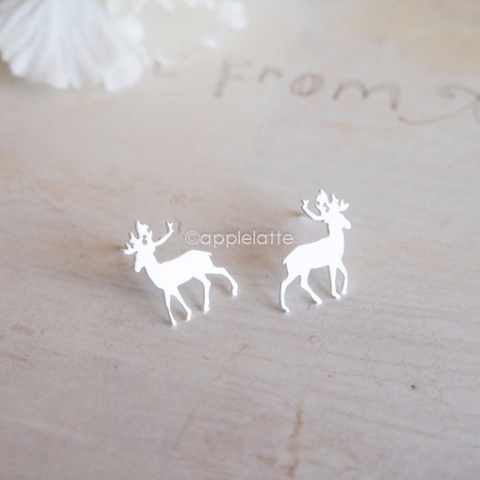 antler earrings  in gold or silver, deer post earrings, stag earrings, horn earrings, reindeer earrings, Rudolph earrings, Christmas jewelry
