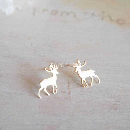 cea21ed57 antler earrings in gold or silver, deer post earrings, stag earrings, horn  earrings