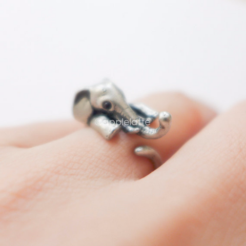 elephant trunk up ring, elephant ring, burnish ring, lucky ring  size 5 ~ 9 us