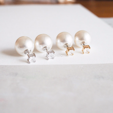 front and back studs, pearl Earrings ,double pearl Earrings, Double Earrings, square crystal post earrings