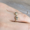 tiny gold skull heads ring, silver skull ring, skull jewelry, casual ring