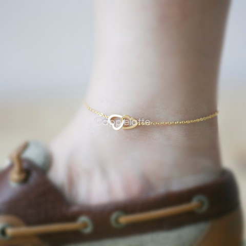 two heart anklet CHOOSE ONE gold / silver / rose gold