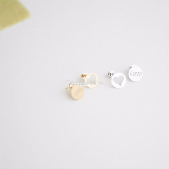 LOVE & heart earrings in gold or silver