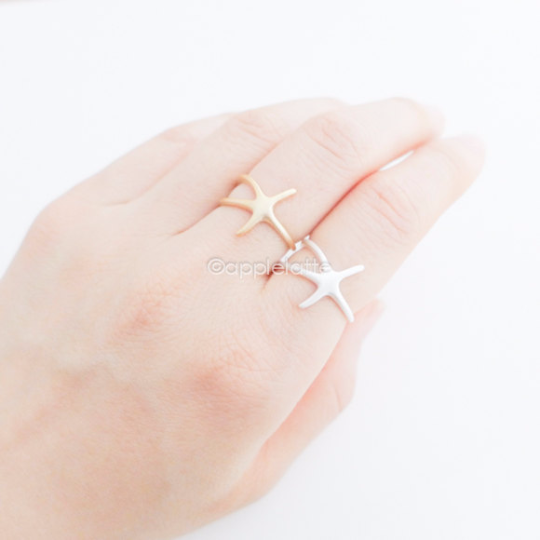 starfish ring in gold or silver, star fish ring, star fish jewelry