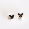 onyx butterfly pearl Earrings, front and back studs, pearl Earrings, Double Earrings, black butterfly post earrings