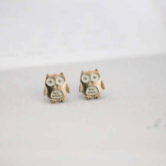 owl earrings, brown owl earrings, gold owl post, owl jewelry, owl studs