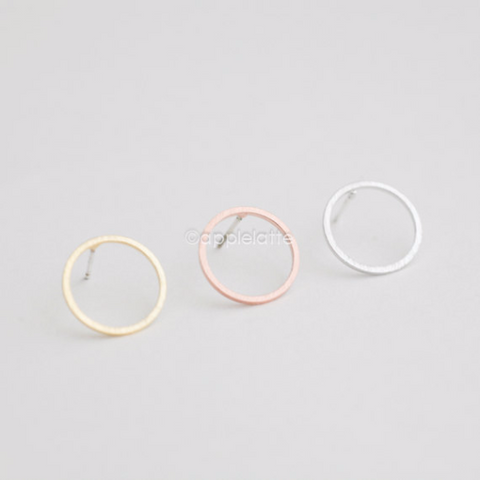 open circle earrings, karma studs, round circle post earrings in gold, silver or rose gold