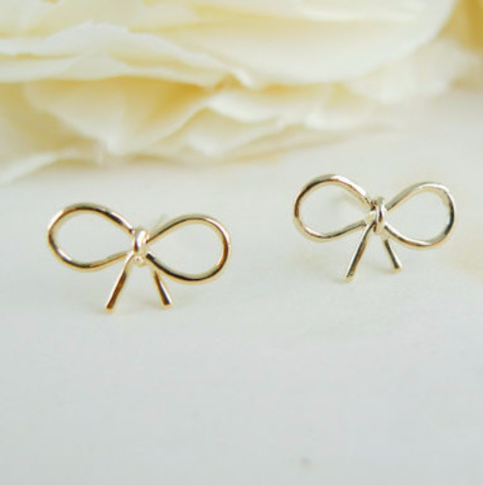 tiny bow earrings, bow post earrings, pink bow earrings, silver bow earrings, gold bow earrings, rose gold bow earrings