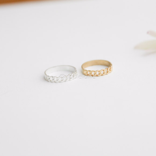 half chain ring in gold or silver