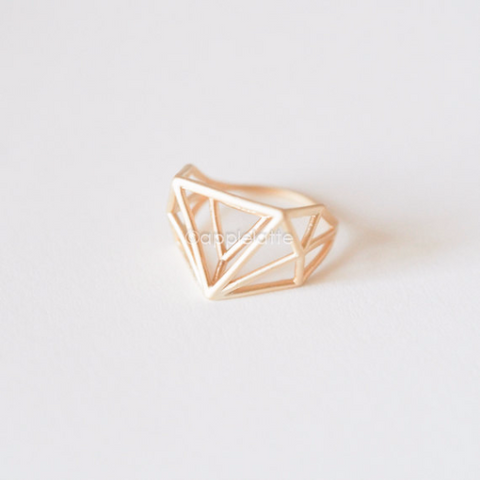 geometric ring, triangle ring, chevron Ring, V ring, architectural structure ring, minimal jewelry