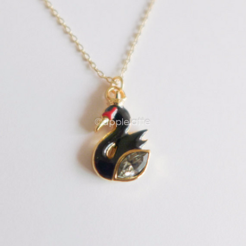 Black And White Swan Necklace