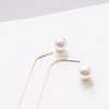open circle Pearl Ear Thread Earrings, pearl dangle earrings, minimalist earrings, modern jewelry, bridesmaid gift