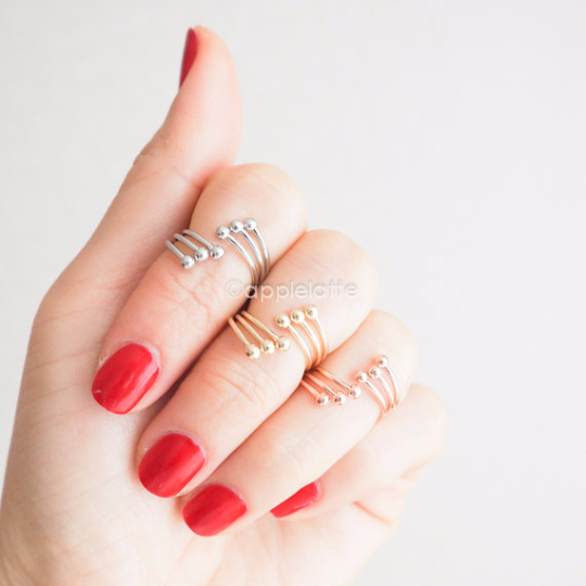 triple line with ball knuckle band, simple midi ring, knuckle ring, simple band in gold, silver or rose gold