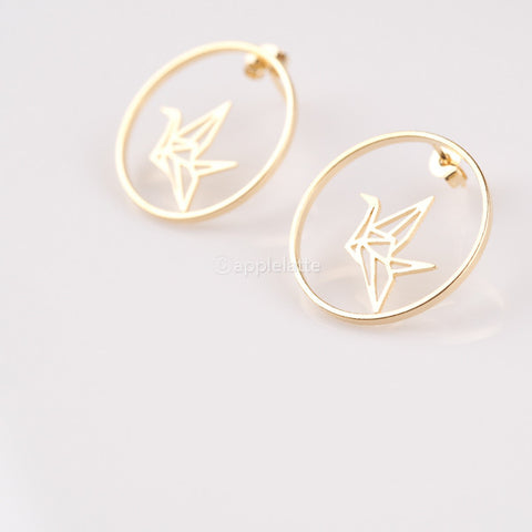 Origami Crane Circle Earrings
