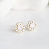Light Pink Stone_ White Swarovski Crystal Stud Earrings
