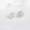 Mint Stone_ White Swarovski Crystal Stud Earrings