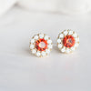 Orange Stone_ White Swarovski Crystal Stud Earrings