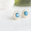 Blue Stone_ White Swarovski Crystal Stud Earrings