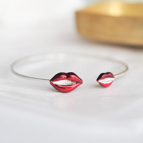 Double Red Burgundy Lips Bracelet