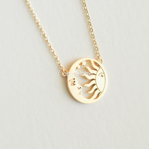 sun and crescent moon necklace