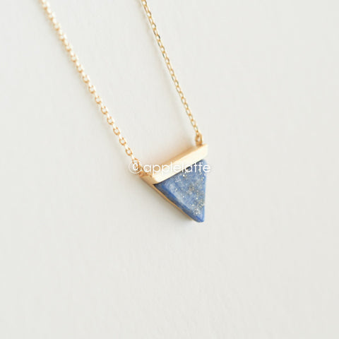 Blue Stone Arrow Triangle Necklace