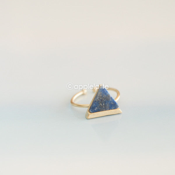 Blue Stone Arrow Triangle Ring