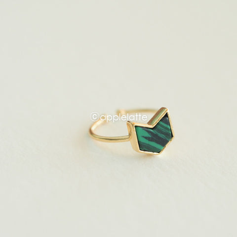 Green Black Mixed Stone Arrow Ring