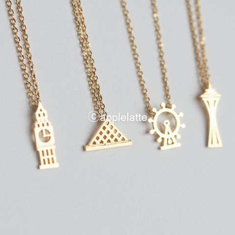 Landmark Necklace_ Big Ben, Pyramid of the Louvre, London Eye, Space Needle