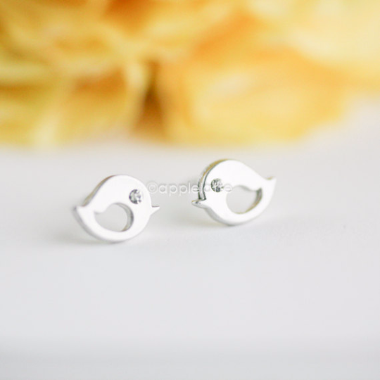 tiny love bird earrings, lovebirds post in silver