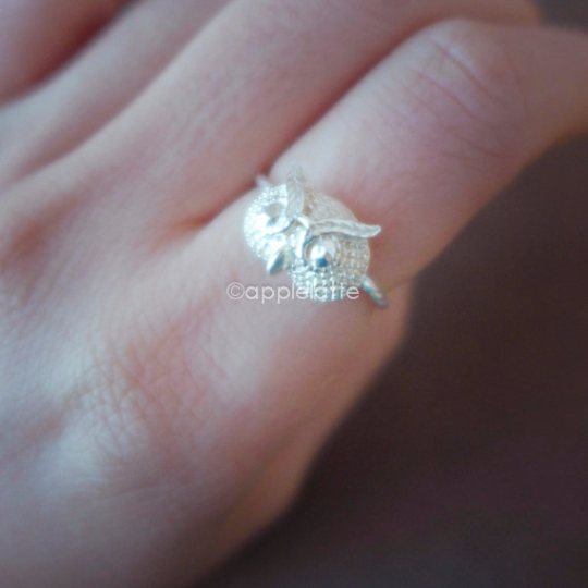 owl ring in sterling silver 925, baby owl ring, bird ring, owl jewelry, sterling silver ring
