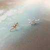 tiny gecko earrings in sterling silver 925, lizard post earrings, iguana, reptile jewelry