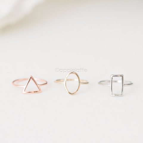 geometric knuckle Ring, midi stacking ring in gold , silver or rose gold, square ring, triangle ring, circle ring