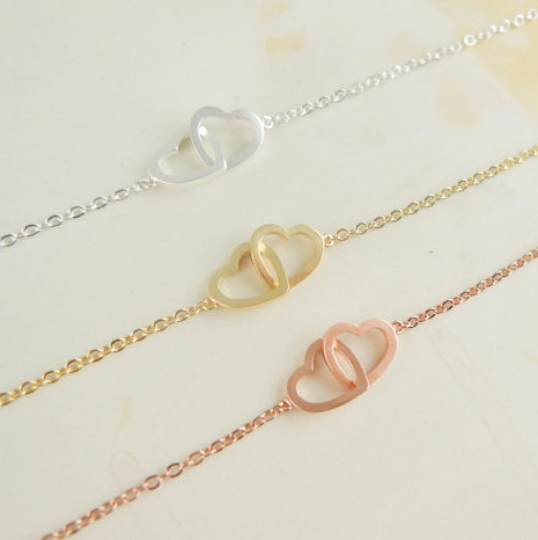 two heart bracelet gold / silver / rose gold