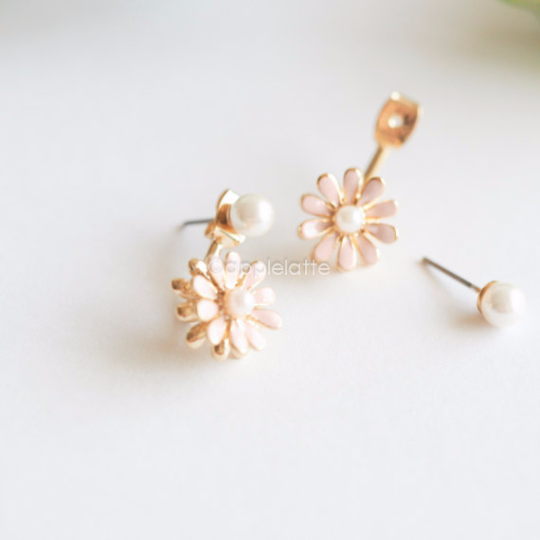 Flower Ear Jackets, Flower Earrings, Front Back Earrings, Pink Earrings, Daisy Earrings, Cute Earrings, Pink Jewelry, Floral Studs_E007