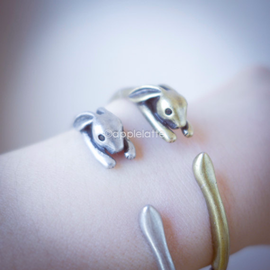 rabbit bracelet in gold or silver, layering bracelet, bunny bracelet, rabbit bangle, bunny bangle
