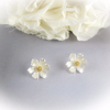 pure daisy flower earrings in white silver